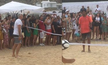 Ο Νικοπολίδης έπαιξε ποδόσφαιρο στην παραλία της Μυκόνου με τον Ροναλντίνιο