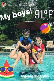 Καλομοίρα: Παιχνίδια στην πισίνα για τον σύζυγό της και τα δίδυμα