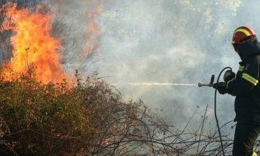 Φωτιά: Στις φλόγες ο οικισμός της Κνωσού - Πνέουν ισχυροί άνεμοι