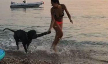 Μαριάνα Καλέργη: Τα παιχνίδια με τον σκύλο της στη θάλασσα
