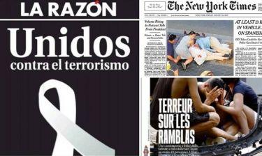 Τρομοκρατικό χτύπημα στη Βαρκελώνη: Το μακελειό μέσα από τα πρωτοσέλιδα του Τύπου