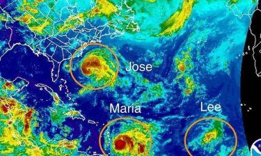 Η φωτογραφία που τρομάζει: Δύο τυφώνες και μια τροπική καταιγίδα με κατεύθυνση την Καραϊβική
