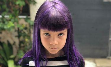 Η 7χρονη κόρη γνωστής τραγουδίστριας έβαψε τα μαλλιά της μωβ (pics)