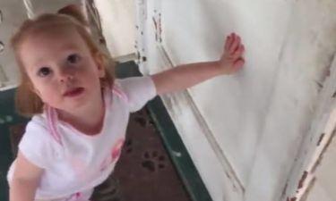 Μικρό κορίτσι δεν αφήνει τον πατέρα της να ξεφύγει! (vid)