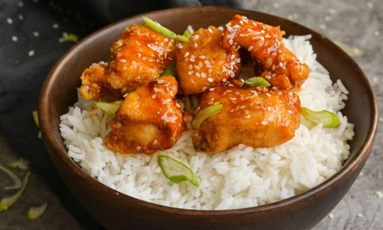 Γλυκόξινο κοτόπουλο με ρύζι