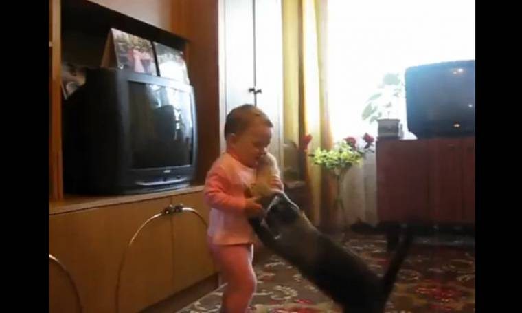 Πόλεμος ανάμεσα σε ένα πιτσιρίκι και μία γάτα για το γατάκι της! (vid)