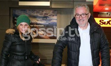 H Πέγκυ Ζήνα και ο Γιώργος Λύρας μαζί στο αεροδρόμιο της Θεσσαλονίκης