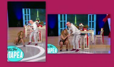 Επική τούμπα χορεύτριας στο πλατό της εκπομπής «Για την παρέα» - Η αντίδραση του Μουτσινά