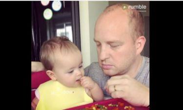 Άλλα κόλπα! Όταν ένας μπαμπάς προσπαθεί να ταΐσει την κόρη του βραστά λαχανικά!