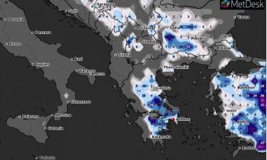 Καιρός: Καρέ - καρέ ο χάρτης χιονοκάλυψης της Ελλάδας το Σαββατοκύριακο. Πολύ χιόνι και στην Αττική