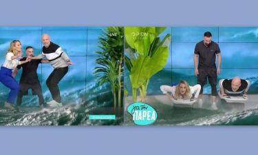 Τρελό γέλιο! Η Ελεονώρα Μελέτη έβγαλε τις γόβες της και παρέδωσε μαθήματα surfing στον Μουτσινά