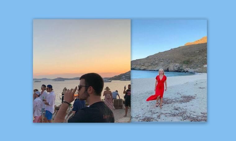 H Ελένη Μενεγάκη στην Άνδρο και ο γιος της, Άγγελος στην Πάρο (Photos)