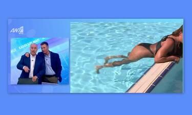 Η Χριστίνα Πάζιου έκανε ασκήσεις στο νερό και οι παρουσιαστές είχαν μείνει «παγωτό» (video)