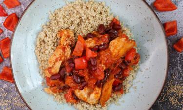 Κοτόπουλο κοκκινιστό με κινόα