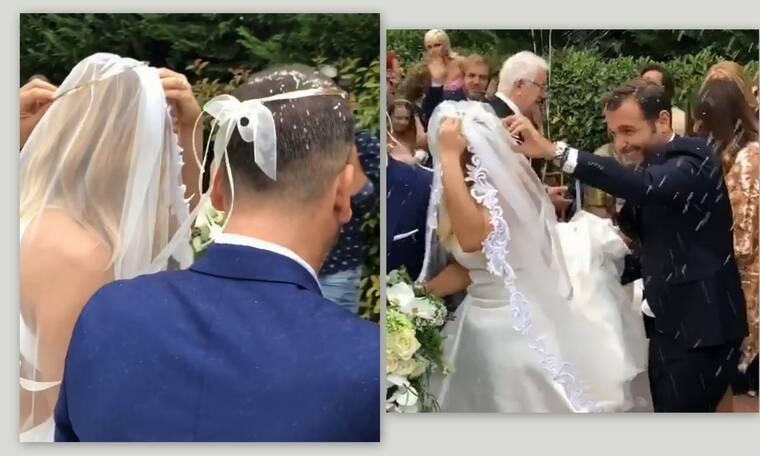Ο χορός του Ησαΐα για ζευγάρι των media! Μπλέχτηκε με το πέπλο της η νύφη (Pics – Vid)