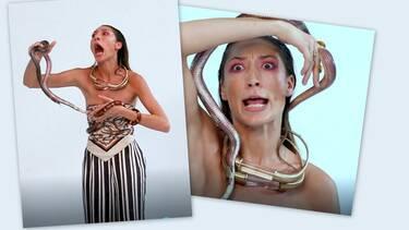GNTM: Πανικός την ώρα της φωτογράφισης! Μπήκε το φίδι στο παντελόνι της και ούρλιαζε! (video+photos)