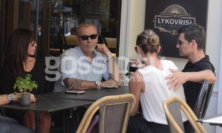 Ρουβάς-Ρόκκος: Ο καφές με τα «κορίτσια» τους και τα πεταχτά φιλιά του Στέλιου στην Κάτια! (photos)