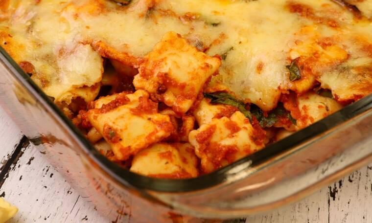 Ραβιόλι με σπανάκι στο φούρνο