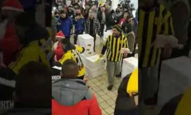 Επικό σκηνικό Αρειανών σε φίλους του ΠΑΟΚ στην Ιχυόσκαλα για την «τεσσάρα» (video)