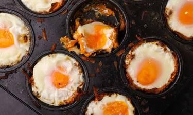 Φωλιές από πατάτα γεμιστές με αυγό