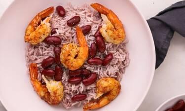 Πεντανόστιμες γαρίδες με ρύζι και κόκκινα φασόλια