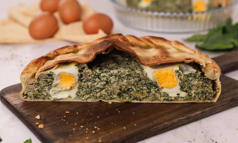Τάρτα με σπανάκι, τυριά και αυγό (Pasquolina)