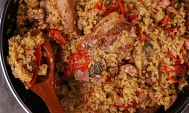Ψητό ρύζι με χοιρινή πανσέτα