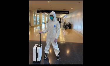 Έτσι προστατεύεται το πασίγνωστο supermodel από τον κοροναϊό - Σαν αστροναύτης στο αεροδρόμιο