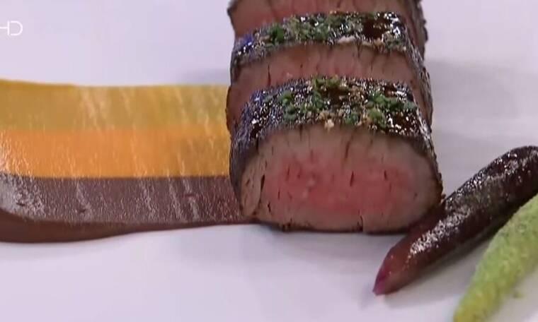 MasterChef: Φιλέτο μοσχάρι με μπαχαρικά, πουρέ καρότο, τζίντζερ και πετιμέζι - Δείτε τη συνταγή