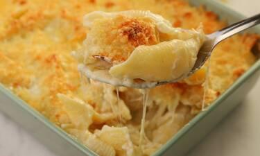 Κοχύλια με τέσσερα τυριά στο φούρνο