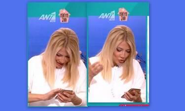 Φαίη Σκορδά: Ταράχτηκε με το ξαφνικό μήνυμα στο κινητό της on air (Video)