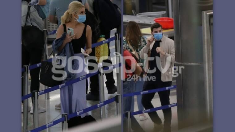 Καινούργιου -Τσαγκρίδης: Στο αεροδρόμιο με μάσκες προστασίας! Πού πήγαν;
