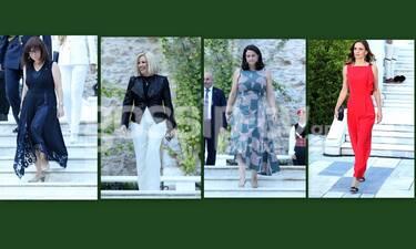 Λαμπερές παρουσίες στο Προεδρικό Μέγαρο - Τι φόρεσαν οι επώνυμες κυρίες