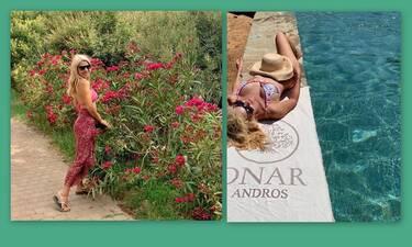 Ελένη Μενεγάκη: Στην παραλία με τη Μαρίνα - Νέες φωτό από την Άνδρο