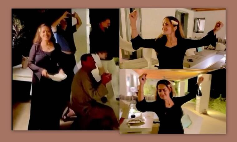 Σάλμα Χάγιεκ: Δείτε την να σπάει πιάτα και να χορεύει «Ζορμπά» στην Πάρο