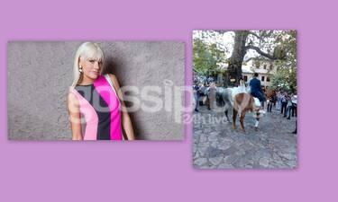 Σάσα Σταμάτη: Με ολόσωμη φόρμα στο γάμο της Ανθής Βούλγαρη - Άψογη σιλουέτα