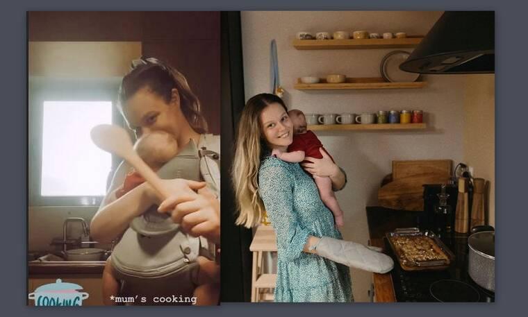 Αβασκαντήρα: Η γυναίκα του Χρανιώτη μαγειρεύει έχοντας αγκαλιά τον γιο της