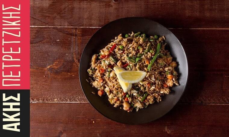 Κινέζικο ρύζι με λαχανικά από τον Άκη Πετρετζίκη