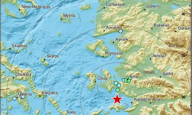 Ισχυρός σεισμός τώρα κοντά στη Σάμο - Αισθητός μέχρι την Αθήνα