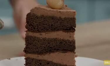 Λαχταριστή τούρτα σοκολάτα κάστανο από τον Άκη Πετρετζίκη!