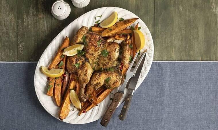 Κοτόπουλο με γλυκοπατάτες στον φούρνο από τον Άκη Πετρετζίκη!