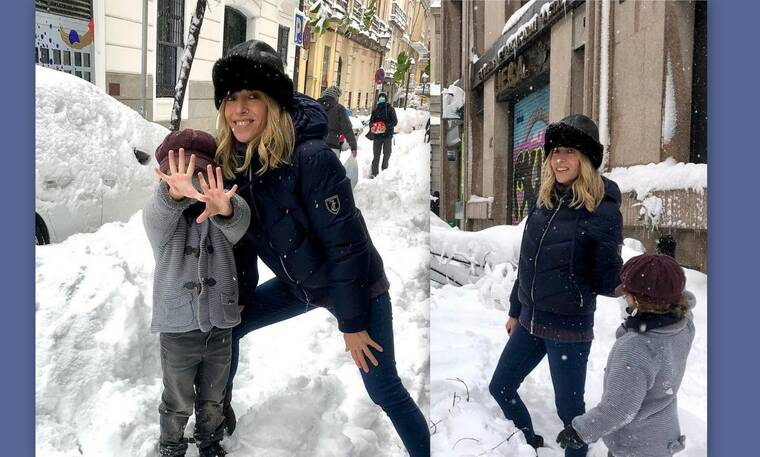 Nάντια Χαλαμανδάρη: Παιχνίδια με τον μικρό της πρίγκιπα Νίκολας στη χιονισμένη Μαδρίτη