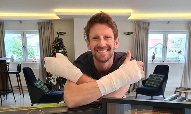 Ο Γκροζάν αποκαλύπτει τα τραύματα στα χέρια του μετά το σοκαριστικό ατύχημα
