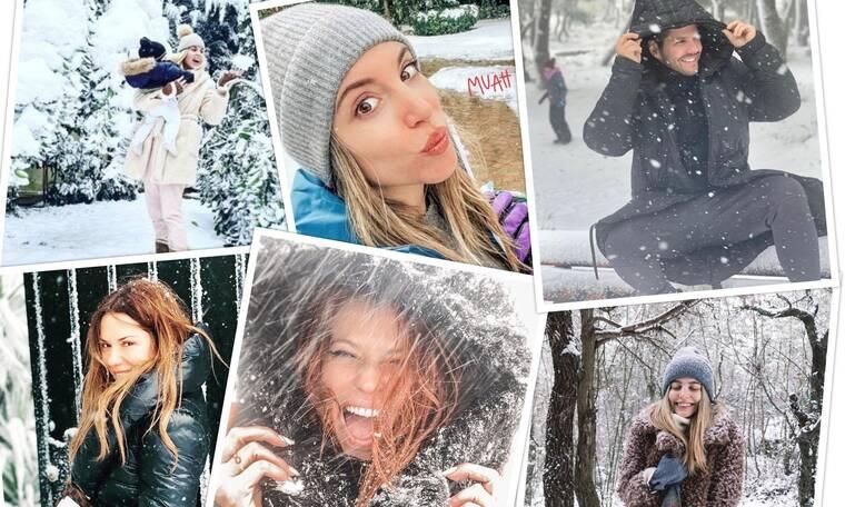 Οι Έλληνες Celebrities ποζάρουν στα λευκά και παίζουν με το χιόνι!