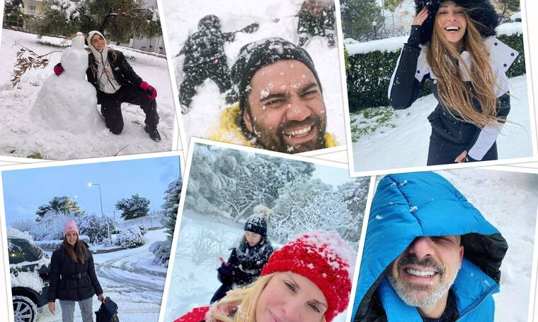 Καμία «Μήδεια» δεν πτοεί τους Έλληνες Celebrities για βόλτα και χιονοπόλεμο!