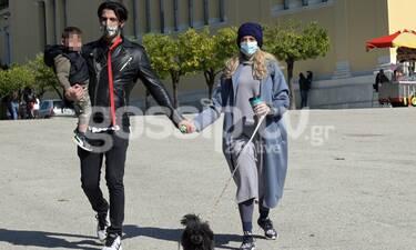 Αναστασιάδης-Θεωνά: Σπάνια οικογενειακή βόλτα με τον γιο τους στο Ζάππειο!