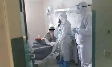 Κορονοϊός - Βόλος: Έσβησε τούρτα στο νοσοκομείο – Δείτε την έκπληξη που έκανε τον ασθενή να δακρύσει