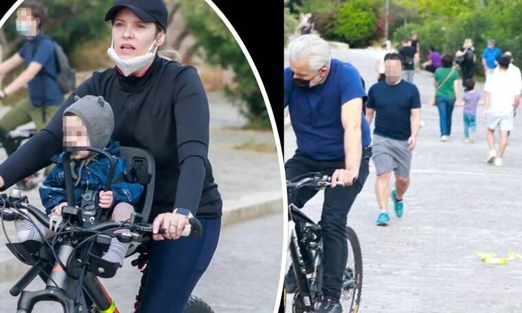 Χριστόπουλος - Μπραντ: Μια υπέροχη οικογένεια! Ποδηλατάδα με τον μονάκριβο γιο τους