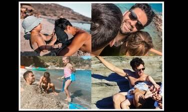 Ποζάρουν με τα παιδιά τους στην παραλία – Οι πιο hot Έλληνες μπαμπάδες