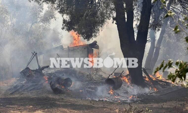 Φωτιά στη Σταμάτα - Ρεπορτάζ Newbomb.gr: Κάηκαν σπίτια στη Ροδόπολη (pics + vid)